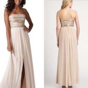 Metallic beaded strapless chiffon gown